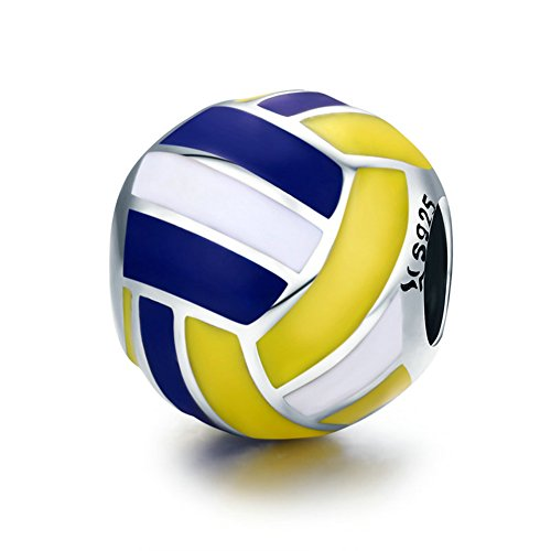 Ciondolo rotondo a forma di pallone da pallavolo con strisce bianche, gialle e blu, in argento Sterling 925, per amanti dello sport, idea regalo per festa della mamma, gioielli primaverili