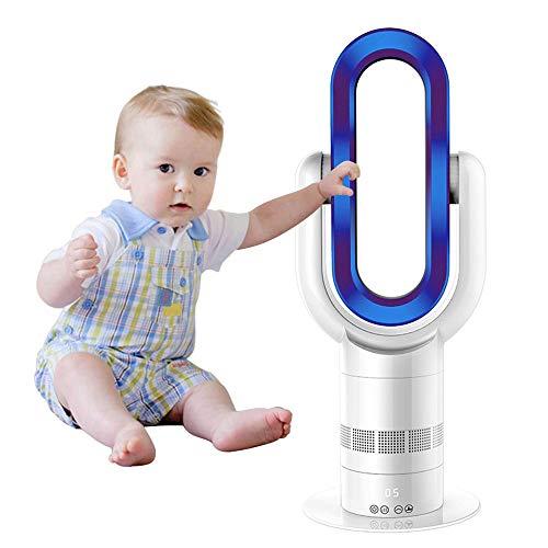 OMZBM Mejorar Silencio Ventilador sin Cuchillas Calentador Caliente+Ventilador frío Ventilador Seguridad Vertical eléctrico oscilante 25pulgadas con Control Remoto Sincronización 10 Archivos,Azul…