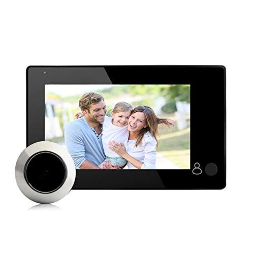 Visor de mirilla para puerta LCD TFT a color de 4.3 pulgadas, monitor de cámara de seguridad HD de 1 MP, visor digital inteligente para interiores (gran angular de 140 °), función FIFO de soporte, ins