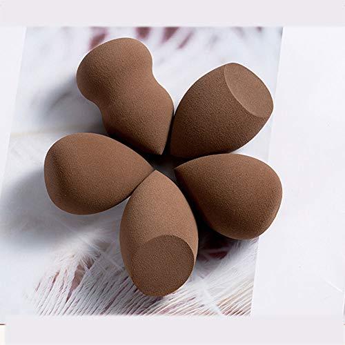 ZYFF huazhuangshua Paquet de 5 éponges de Maquillage de Fondation, Outil de soufflage de Coussin d'air d'éponge de Porte-Oeufs (Couleur : Brown)