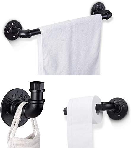 Juego de accesorios de baño de acero inoxidable negro, toallero montado en la pared, toallero de papel, ganchos para ropa, juego de pared para baño
