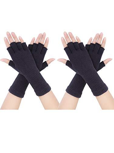 2 Paar Unisex Fingerlose Handschuhe Half Finger Dehnbar Strick Handschuhe Verlängern Handgelenk Handschuhe Winter Warme Handschuhe (Grau)