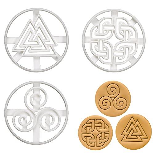 Set of 3 Nordic Runes cookie cutters (Designs: Celtic Shield Knot, Triskelion, & Valknut), 3 pieces - Bakerlogy