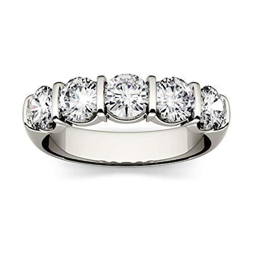 Charles & Colvard Forever One anello per anniversario di nozze - oro bianco con 14K - Moissanite da 4.5 mm con taglio rotondo, 1.65 kt, taglia 20