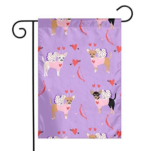 Vlag voor tuin Love Bug Cupido kostuum Dog Breed Purple Outdoor Yard Lawn Decor 12 x 18 inch