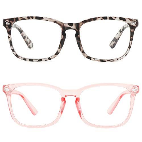 MEETSUN Blue Light Blocking Glasses, Anti Eye Strain Headache (Sleep Better),Computer Reading Glasses UV400 Transparent Lens (Leopard + Pink 2 PACK, 53)