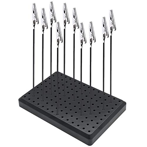 EVOIO Painting Stand Base and Alligator Clip Stick Set Modeling Tools Model Standing Base with 10 Metal Wire Clamps Long-Tailed Clasp for Hobby Modeling DIY Card Photo Memo (6X4Inch)