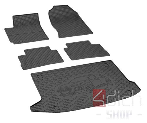 Passgenaue Kofferraumwanne und Gummifußmatten geeignet für Hyundai Kona ab 2017 + Autoschoner MONTEUR