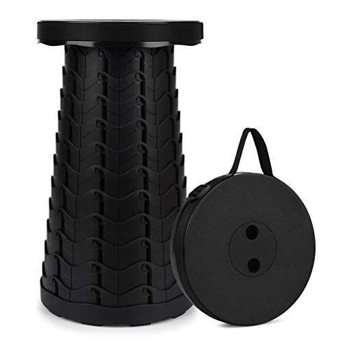 Portable Telescoping Stool, 2nd Gen Retractable Stool for Camping Garden Fishing Hiking Travel BBQ, Adjustable Plastic Stools Max Load 397lbs (Black)