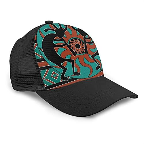 LAOLUCKY Gorra de malla a presión, sombrero de camionero con borde curvado, gorra de béisbol para hombres y mujeres