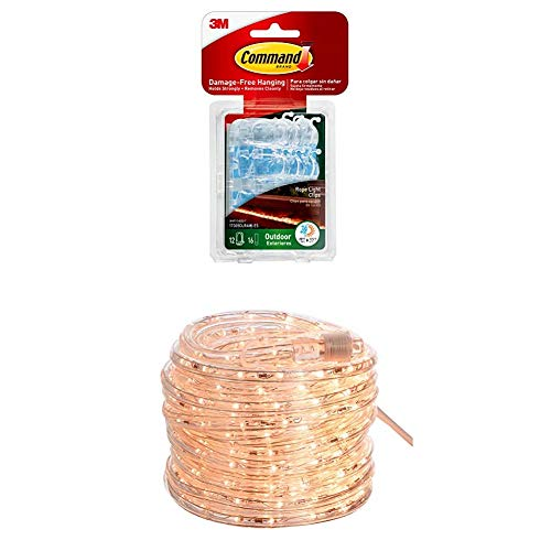 Command Outdoor Rope Light Clips & AmazonBasics 420 Indoor Outdoor LED Warm White Rope Light, 40-Foot