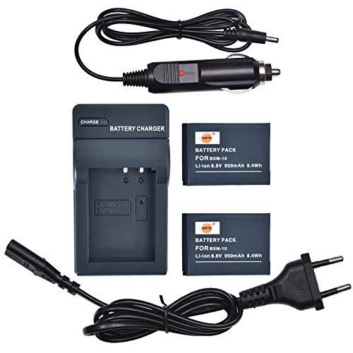 DSTE® 2-Pack Repuesto Batería BXM-10 + DC175E Viaje Cargador Compatible para XiaoYi BXM-10,XiaoYi YI-M1 Mirrorless