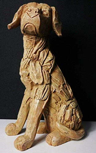 HomeZone Large 35cm Rustic Wood Effect Sitting Labrador Dog Sculpture Driftwood Home Garden Ornament Lawn Statue Weatherproof Polyresin Material.