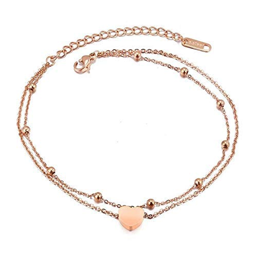 Anklet personality high quality creative super flash rose gold heart shaped anklet jewellery gift
