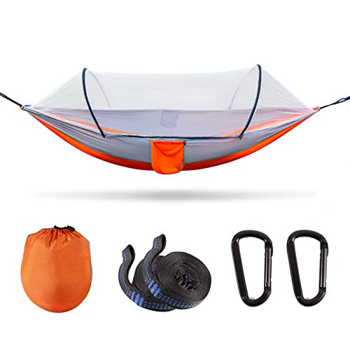 Large Camping Hammock with Mosquito Net, Lightweight Double & Single Hammock Tent for Camping Portable Travel Hammock Sturdy and 500lb Load-Bearing for Outdoor Hiking Backpacking Backyard Patio