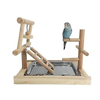 JOMSK Perroquets PlayStand Parrot de Bell Aire de Jeu Stand Oiseaux Formation Rod Anklet Fournitures de Peau de Tigre Support bâton (Color : Multi-Colored, Size : A)