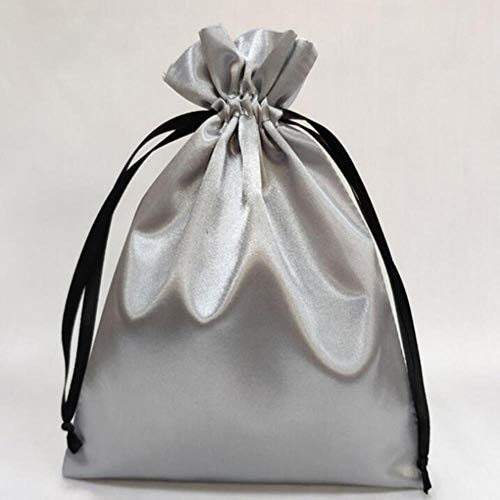 Aober 1PCS Seidensatin Kordelzug Geschenkbeutel Schmuck Make-up Verpackungstasche Schwarz Weiß Silber Rosa Seidenbeutel, 30x40cm