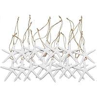 Yixuan 20 Piezas 8cm Estrella de mar de Resina con Agujero y Cuerda de cáñamo Blanca Conchas Estrella de mar Decoracion para Decoración de Bodas, Fiesta Temática de Playa, navideña, del Hogar