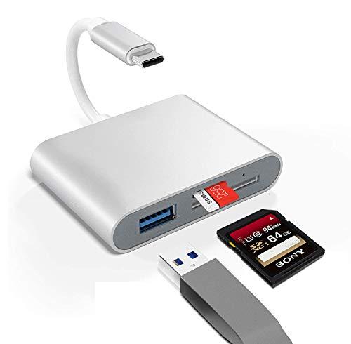 Bawanfa Lector de Tarjetas SD/Micro SD USB C, 3 en 1 Lector de Tarjetas de Memoria Adaptador para MacBook/iPad Pro, Samsung Galaxy S10 / S9 / S8 y más Dispositivos USB C
