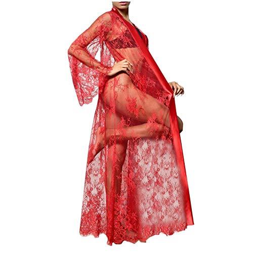 Aujelly Lange Boudoir Hochzeit Kimono bodenlange Spitze Braut Bademantel Dessous für süße Paare Nächte Weihnachten (M, Rot)