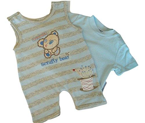 Bébé Garçon Coton Barboteuse générale et T. Shirt Lot en bleu, recouvrir Motif ours, - - 0-3 mois