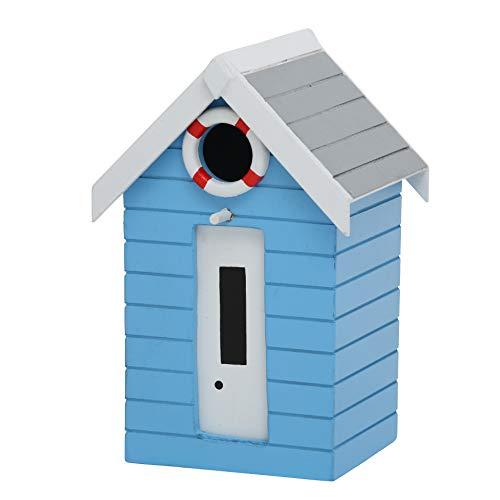 CasaJame Holz Vogelhaus für Balkon und Garten, Nistkasten, Haus für Vögel, Vogelhäuschen, Maritim Blau Deko, 21x14x13cm