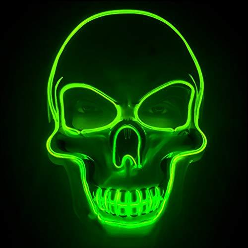 LWWOZL Máscara de iluminación LED de Halloween/Máscara de Cabezas de cráneo de Halloween, Juguete de Accesorios de Disfraces de Adultos (Color : Green)