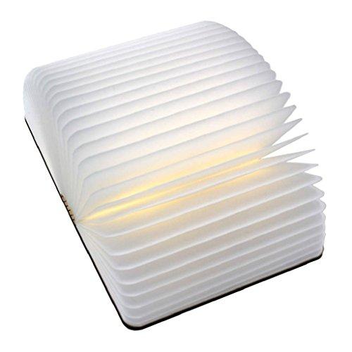 Excelvan Holz Dekorative LED Nachtlicht Booklight LED Buchlampe Folding Buch Design Wandlampe Tischlampe Kunstlicht mit 2500mAh Lithium 500Lumens Stehlampe