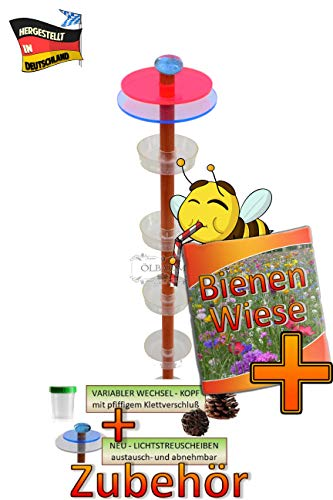 ÖLBAUM XXL 100 cm Bienen- / Insektentränke und Futterstation, Insektenhaus Dunkelbraun Teak Look Insektenhotel für Wildbienen, Hummeln Schmetterlinge, mit großem Zubehörset