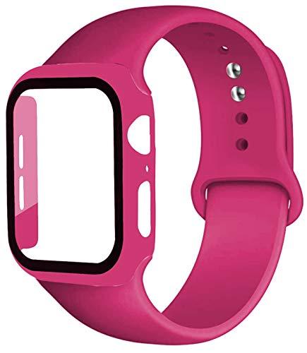 LAAGFC Caja de la Correa + Vidrio + for la Banda de Reloj de Apple iWatch Banda de 40 mm 44 mm 42 mm 38 mm de Silicona Tope + Pulsera de Reloj de la Manzana 5 4 3 2 1 38 42