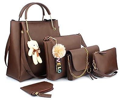 Mammon Women's Handbag (Set of 5, Brown)