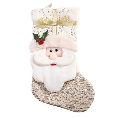 jingyuu Calcetines de Navidad, color blanco, para decoración de Navidad, día del niño, bolsa de regalo para fiestas, decoración para Candy Bag Chimenea