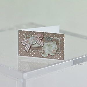 20tarjetas de recordatorio para bautizo de niño con diseño de lazo y patucos