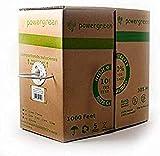 Powergreen - Bobina de cable cat 5e utp 305 metros lszh rigido cubierta color gris, 24awg