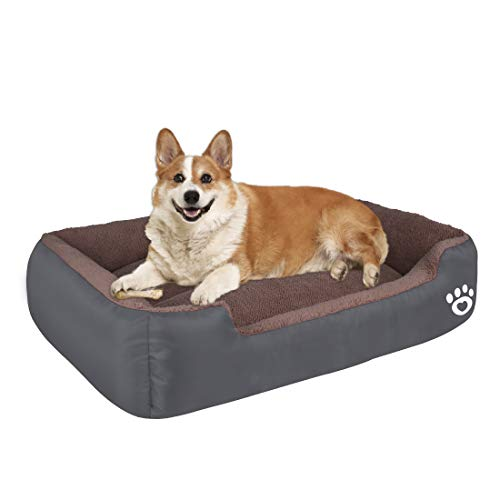 HEGCOIIE Dog Bed for Medium Dogs, Washable Pet Bed Sofa Soft Coral Fleece Warm Dog Basket Cats Bed Thickened Enough with Waterproof Oxford Cloth