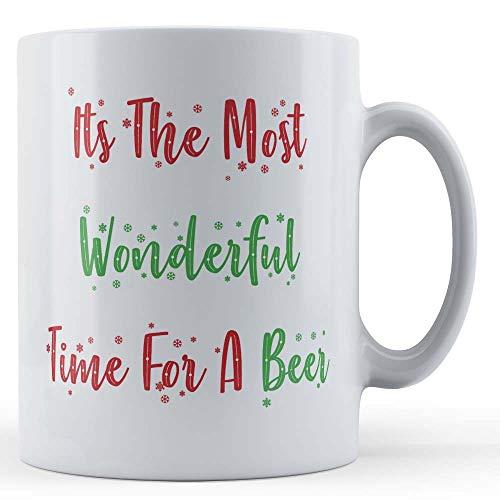 Grappige mok Kerstmis, bier, alcohol, het is de mooiste tijd voor een biertje - cadeaumok van Vader Fox