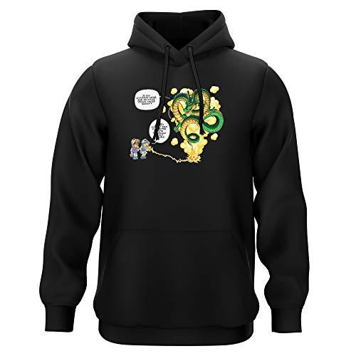 Okiwoki Sweat-Shirt à Capuche Noir Parodie Dragon Ball Z - DBZ - Shenron et Les pétanqueurs Marseillais - La Pétanque, C'est sacré ! (Sweatshirt de qualité Premium de Taille S - imprimé en France)