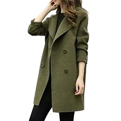 ZDJH Gebreide jas voor dames, revers, herfst en winter, eenkleurig, warme mantel, vrijetijdsjas, parka, winterjas, vrouwen, gebreide trenchcoat, slanke mode, elegant, vrije tijd, streetwear, tops, outwear, groen, XXL