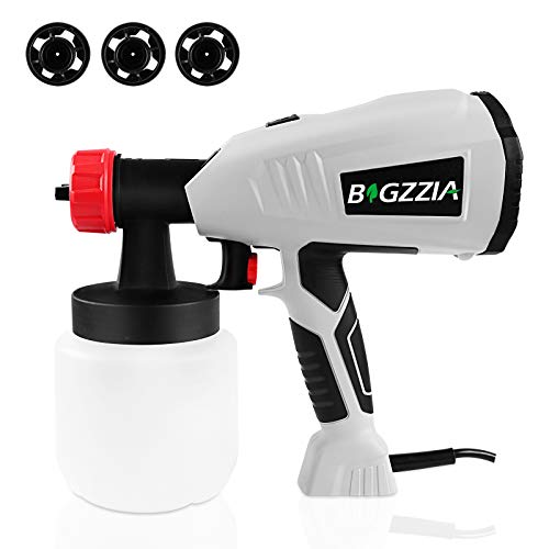 Bigzzia Farbsprühsystem 500W Home Elektro-Farbspritzpistole Handsprühgerät mit abnehmbarem Behälter 800 ml/min für Wanddecke und Zaun, 3 Sprühmuster (1,3/1,8/2,6 mm), einstellbares Ventil