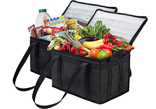 NZ Home Insulated Grocery Bag Large Heavy Duty, Strengthened Side Handles, Collapsible, Washable, Stands Upright, EZ Pack, Dual Sliders Zipper, Completely Reinforced Bottom & Handles (2 Pack, Black)