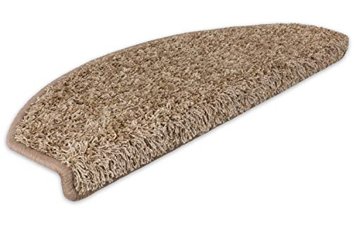 Kettelservice-Metzker Stufenmatten Stufen Teppich Shaggy Queens halbrund Beige/Braun 14 Stück