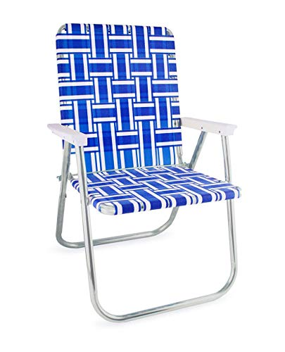 Lawn Chair USA Webbing Chair (Classic, Blue and White with White Arms)