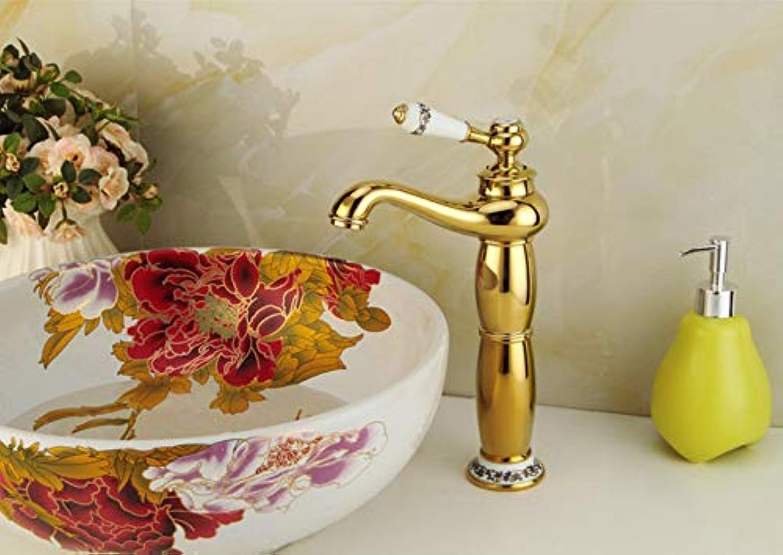 Goldener Badezimmerhahn einzelne weie Keramikgriffhhne für Waschbeckenwannenhhne