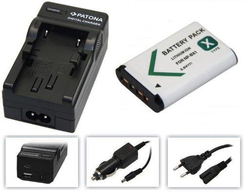 2in1-SET für die Sony FDR-X3000R / X3000 Actioncam - kompatibel mit Sony Akku NP-BX1 - Ersatzakku und 4in1 Ladegerät (für USB, microUSB, 220V und Auto)