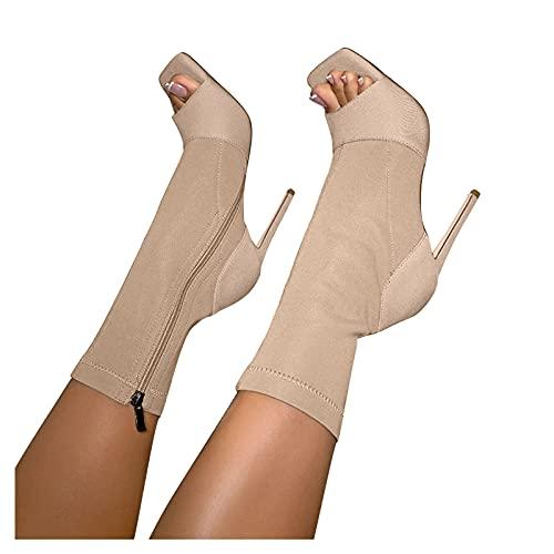 Masbird Ankle Boots for Women High Heel Peep Toe Booties Zipper Hiking Boots Short Booties Single Shoes Platform Boots