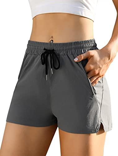 Sykooria Pantalon Corto Mujer, Short Deportivo Mujer Jogger Short Chandal Cintura Elástica Ajustable Pantalones Cortos Running Mujer para Deportes Yoga Casual Gimnasio Ejercici