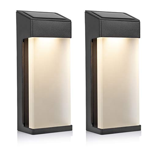 Smartwares Lot de 2 Appliques Murales Extérieures LED Solaires OSL-50010 - Blanc chaud - 10 lm