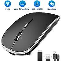 SEZAC Ratón Inalámbrico Recargable, 2.4G Ratón óptico Silencioso Click Mini con 3 Niveles de dpi para Computadora, Computadora Portátil, PC, Air, iMac, MacBook Pro (Negro)