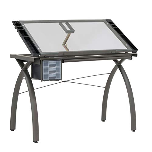 Futura Crafting, Drafting, Drawing Table with Adjustable Top, Pewter and Clear Glass (Kitchen)
