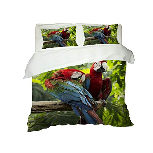 PERFECTPOT King Size Duvet Cover Set 3D Parrot Soft Bedding Quilt Set with 2 Pillowcases in Polyester with Zipper Closure for Boys Girls Adults, 230x220